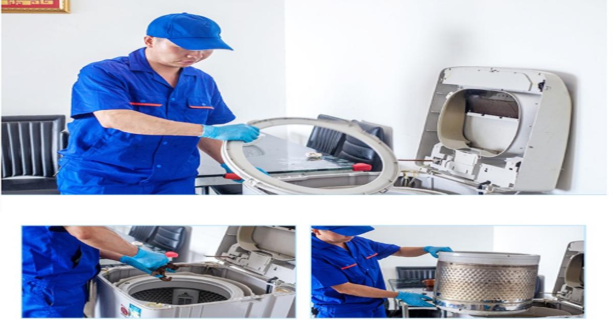 nhân viên SA LÁT đang bảo dưỡng máy giặt tại nhà khách