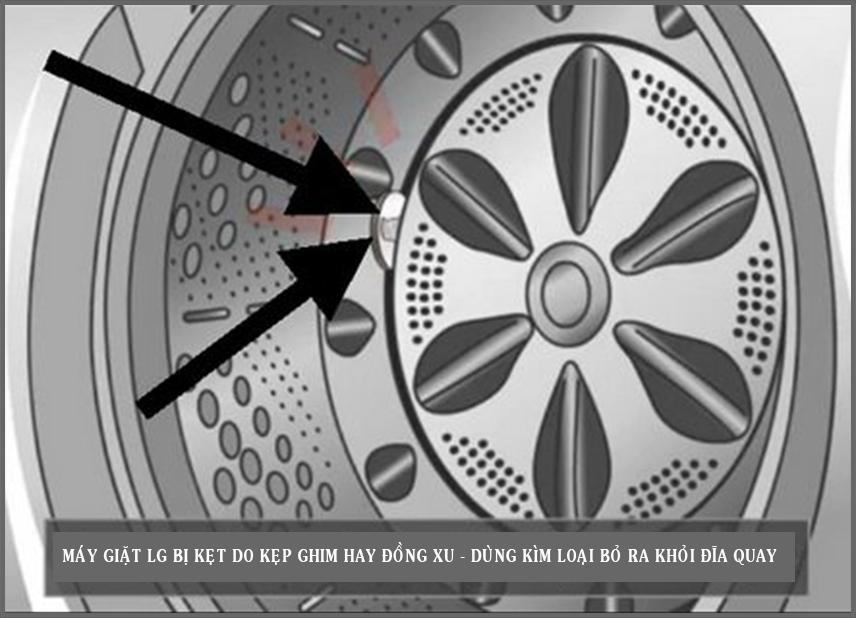 Máy giặt LG bị kẹt - Dùng kìm loại bỏ ra khỏi mâm giặt