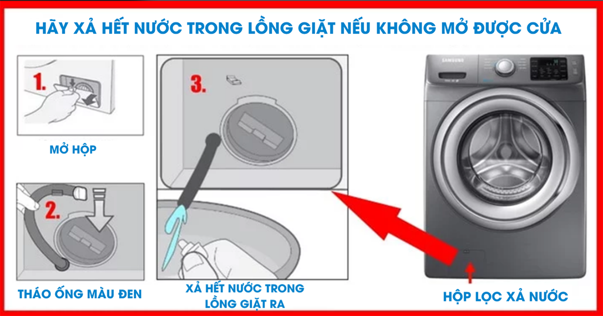 Các bước vệ sinh bộ phận xả nước của máy giặt samsung
