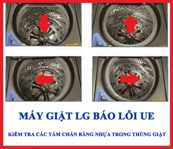Khắc phục máy giặt LG báo lỗi UE - kiểm tra độ cân bằng của thùng giặt