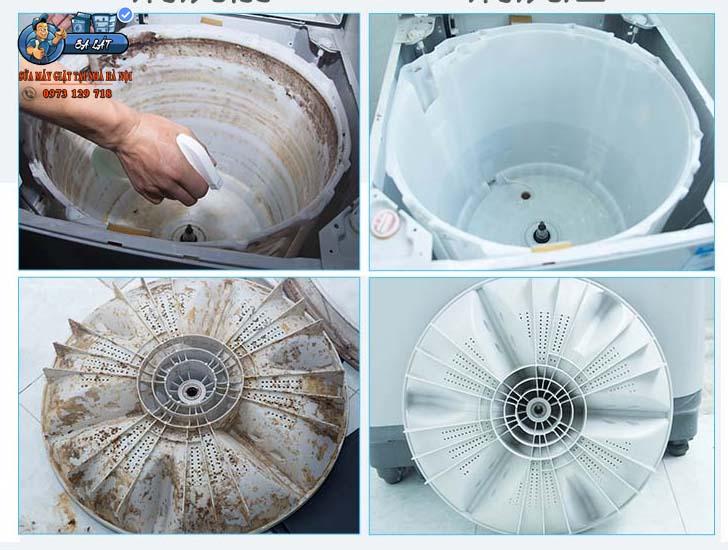 Cặn bẩn bám trên thành máy giặt